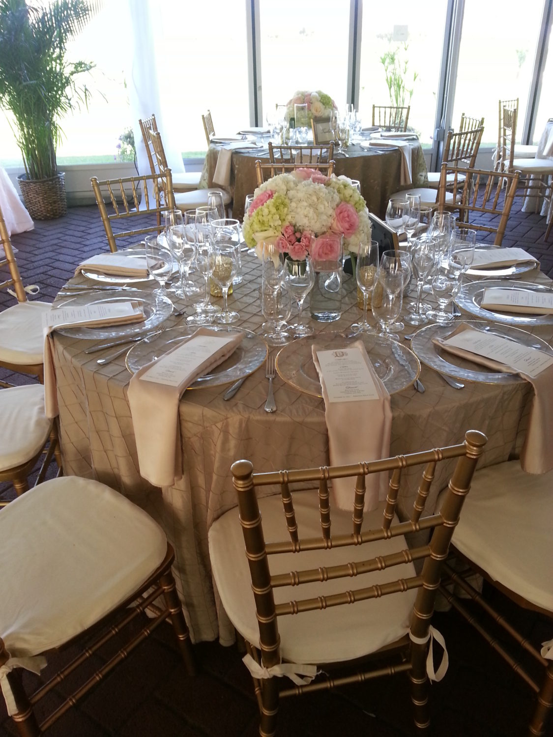 Gold Chairs, Beaded Chargers And Pintuck Linen