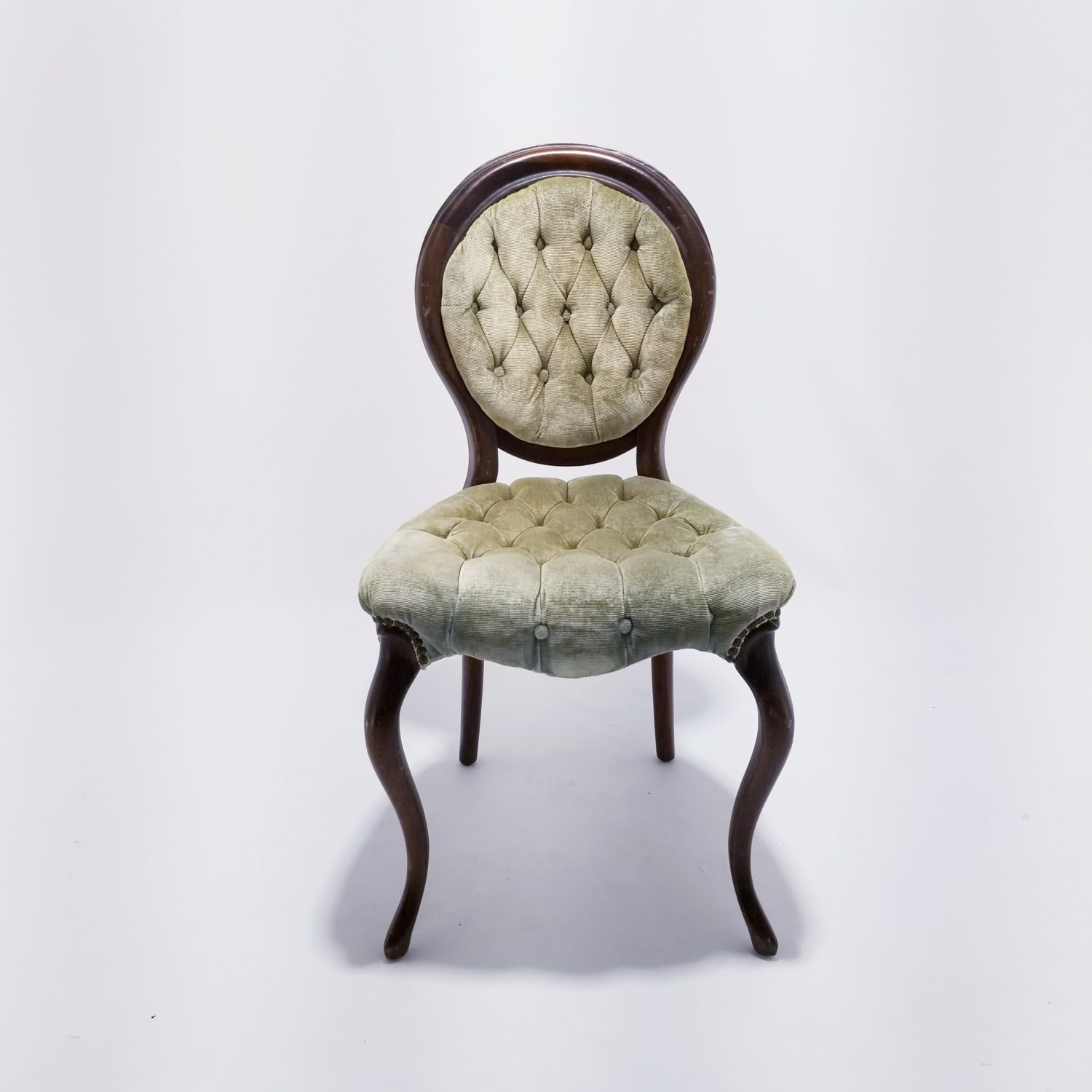 Green Velour Parlor Chair