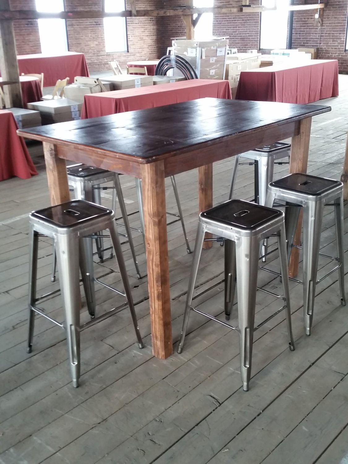 Dark Finish Farm Table HighLegs Rain Or Shine Tent Company - High top farm table