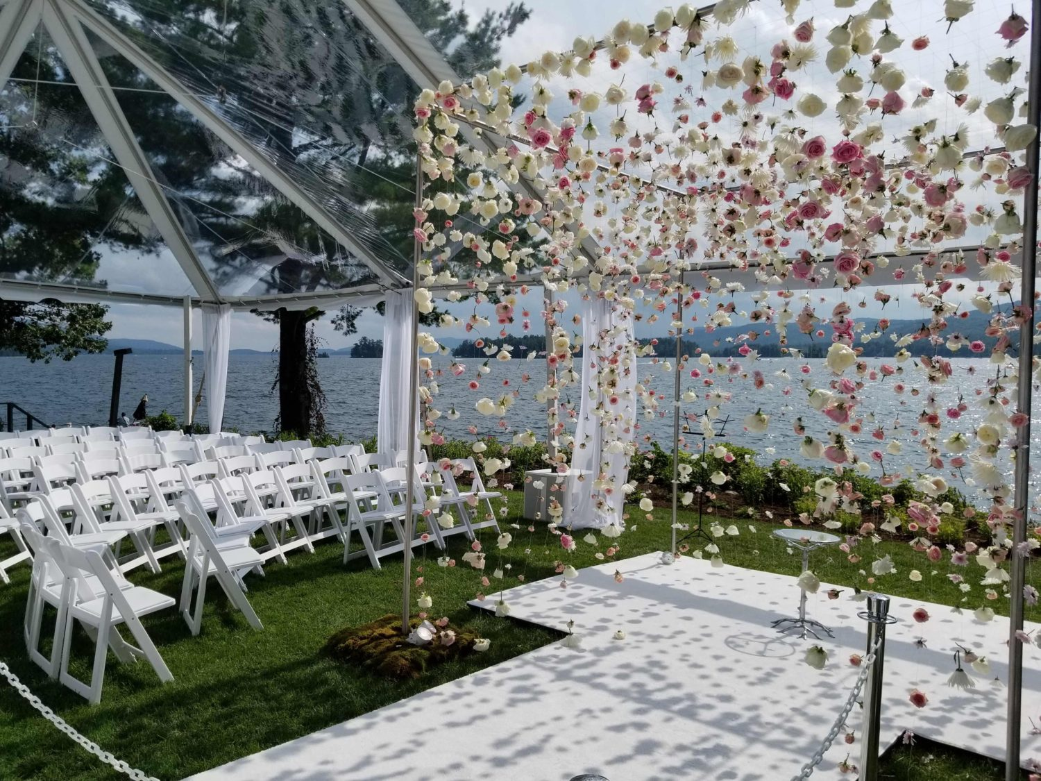 Lake George Ceremony White Aisle Runner Clear Roof Tent