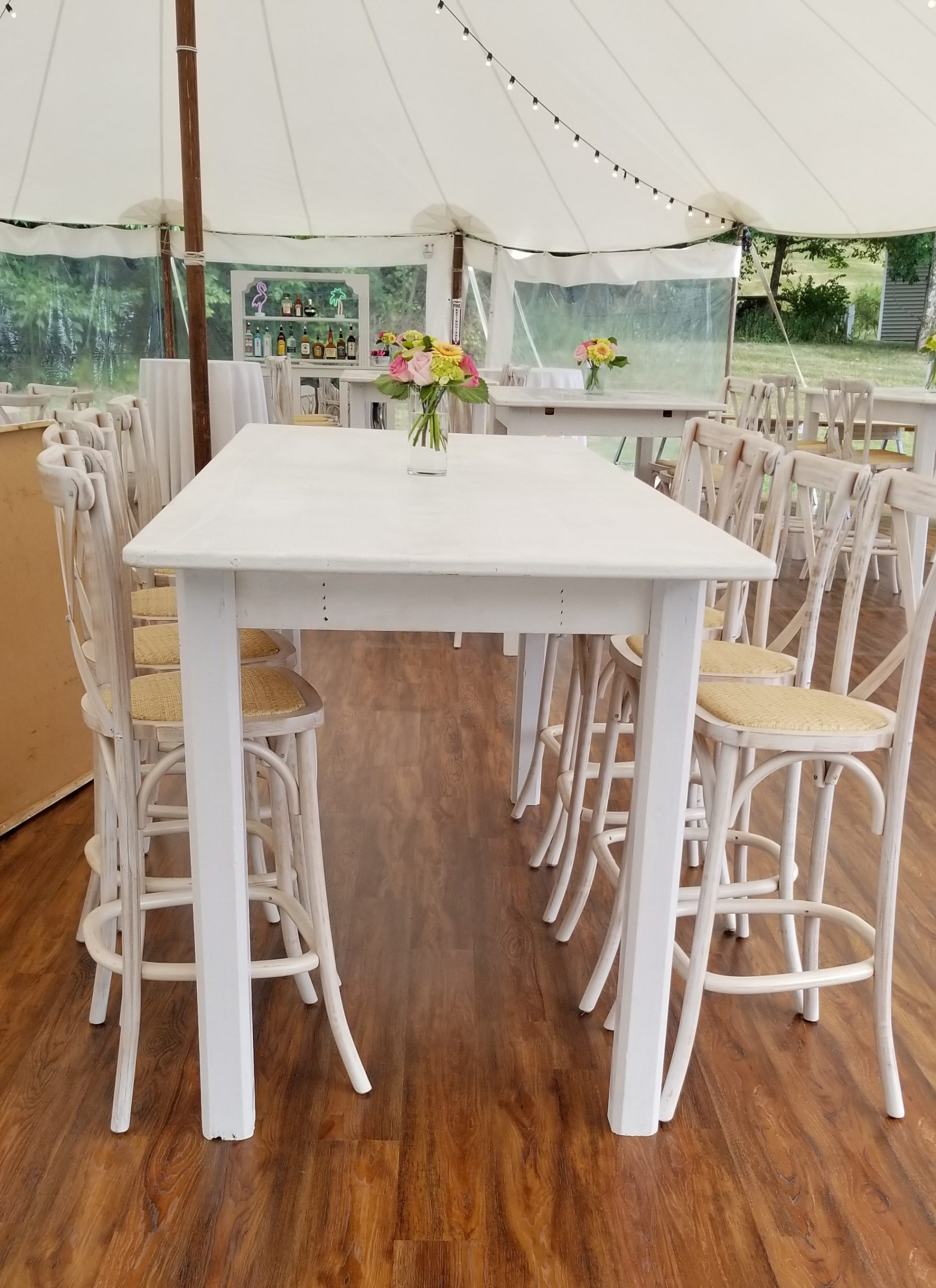 White French Country Farm Table High Legs